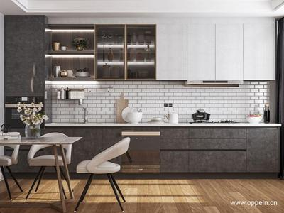 黑白色搭配简洁大方,干练有序的线条设计装点,现代都市青年的厨房生活